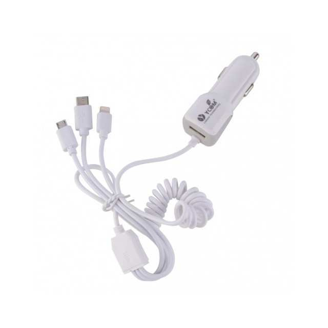 YCOM 3in1 Car Charger Micro USB, IP5 and Type C